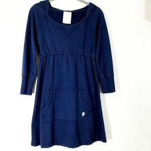 PINK Hooded Sweatshirt Dress/ Tunic Blue  XS